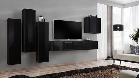 Obývací stěna SWITCH III, černá matná/černý lesk