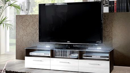 RTV stolek FRESH, wenge/bílý lesk