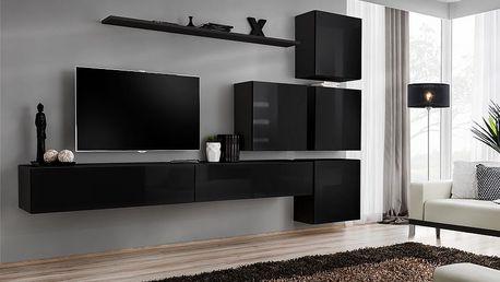 Obývací stěna SWITCH IX, černá matná/černý lesk
