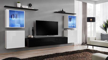 Obývací stěna SWITCH XIV, bílá a černá matná/bílý a černý lesk