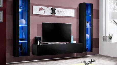 Obývací stěna AIR A2, černá matná/černý lesk