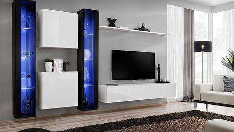 Obývací stěna SWITCH XVI, černá a bílá matná/černý a bílý lesk