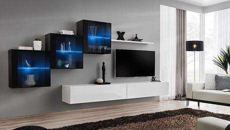 Obývací stěna SWITCH XX, černá a bílá matná/černý a bílý lesk