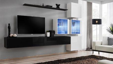 Obývací stěna SWITCH XIX, černá a bílá matná/černý a bílý lesk