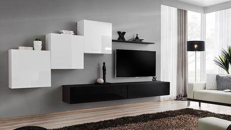 Obývací stěna SWITCH X, bílá a černá matná/bílý a černý lesk
