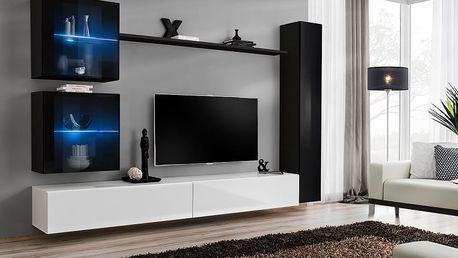 Obývací stěna SWITCH XVIII, černá a bílá matná/černý a bílý lesk