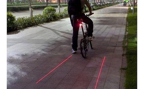 Koncové cyklistické světlo s laserovými linkami pro lepší viditelnost