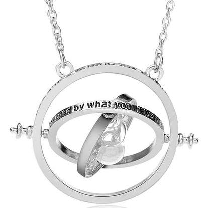 Nadčasový náhrdelník s přesýpacími hodinami - stříbrná barva - dodání do 2 dnů