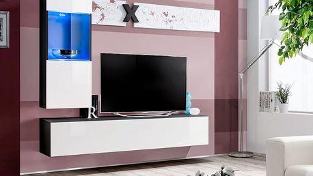 Obývací stěna AIR H3, černá matná/bílý lesk