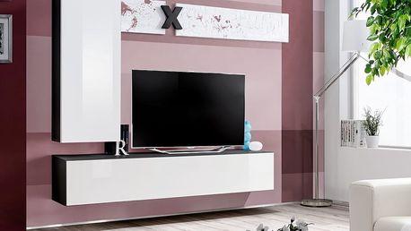 Obývací stěna AIR H1, černá matná/bílý lesk