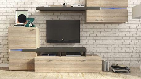 Obývací stěna (dub sonoma/grafit)