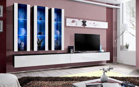 Obývací stěna AIR E3, černá matná/bílý lesk