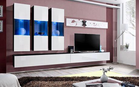 Obývací stěna AIR E2, černá matná/bílý lesk