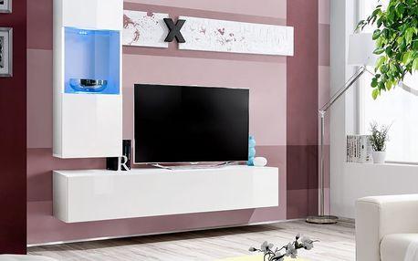 Obývací stěna AIR H3, bílá matná/bílý lesk