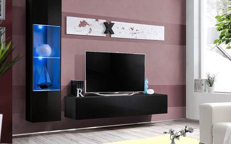 Obývací stěna AIR G3, černá matná/černý lesk