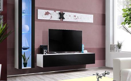 Obývací stěna AIR G2, bílá matná/černý lesk