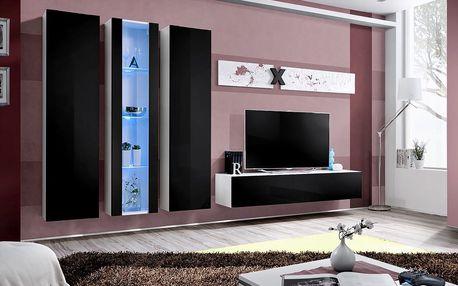 Obývací stěna AIR C4, bílá matná/černý lesk