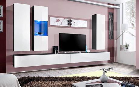 Obývací stěna AIR E5, černá matná/bílý lesk