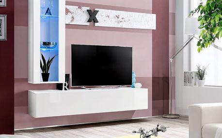 Obývací stěna AIR H2, bílá matná/bílý lesk