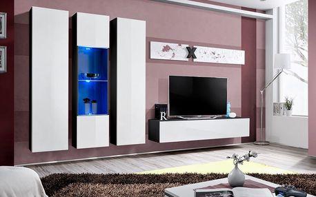 Obývací stěna AIR C5, černá matná/bílý lesk