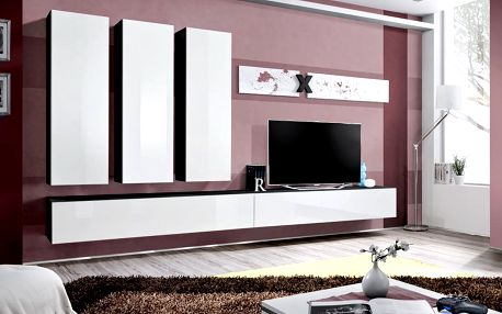 Obývací stěna AIR E1, černá matná/bílý lesk