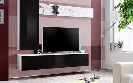 Obývací stěna AIR H1, bílá matná/černý lesk