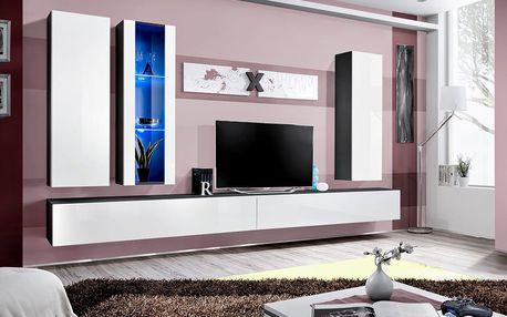 Obývací stěna AIR E4, černá matná/bílý lesk