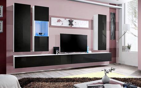 Obývací stěna AIR E5, bílá matná/černý lesk