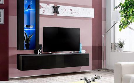 Obývací stěna AIR H2, černá matná/černý lesk
