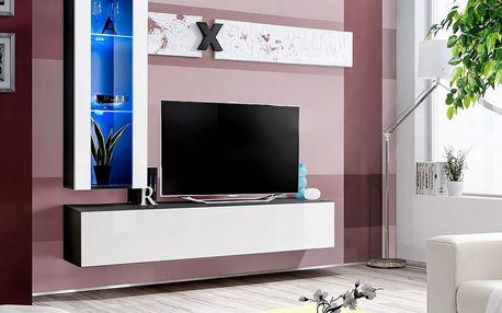 Obývací stěna AIR H2, černá matná/bílý lesk