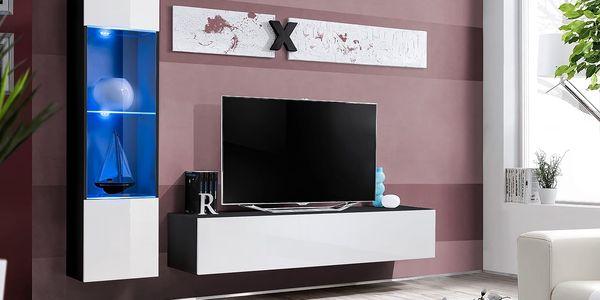 Obývací stěna AIR G3, černá matná/bílý lesk