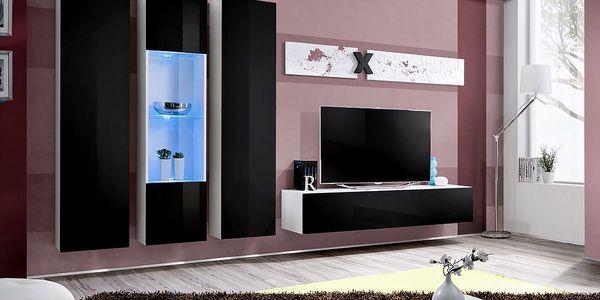 Obývací stěna AIR C5, bílá matná/černý lesk
