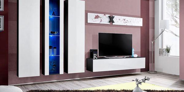 Obývací stěna AIR C4, černá matná/bílý lesk