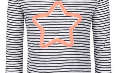 Černo-krémové holčičí tričko s motivem hvězdy Tom Joule