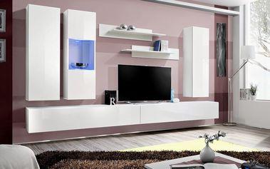 Obývací stěna FLY E5, bílá matná/bílý lesk