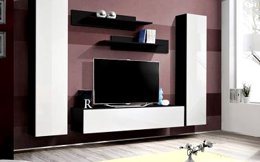 Obývací stěna FLY A1, černá matná/bílý lesk