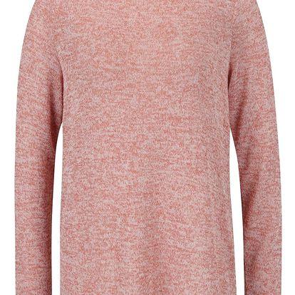 Růžový žíhaný svetr s krajkovými zády VERO MODA Almond