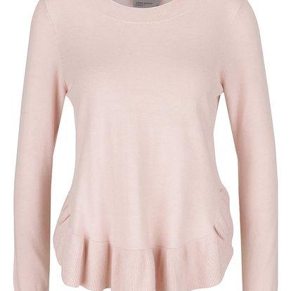 Světle růžový svetr s nařaseným lemem VERO MODA Annika