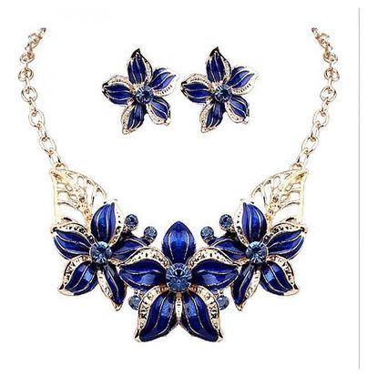 Dámský elegantní náhrdelník s náušnicemi v květinovém vzoru - 2 barvy - dodání do 2 dnů