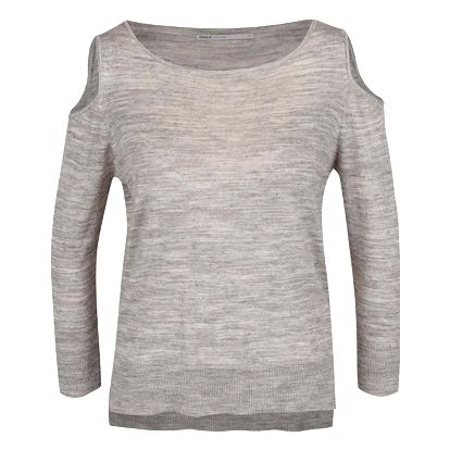 Šedý žíhaný svetr s průstřihy na ramenou ONLY Caprice