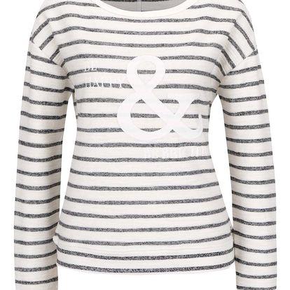 Krémový dámský pruhovaný svetr s výšivkou s.Oliver