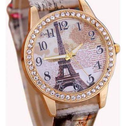 Dámské hodinky s Eiffelovou věží a kamínky - dodání do 2 dnů