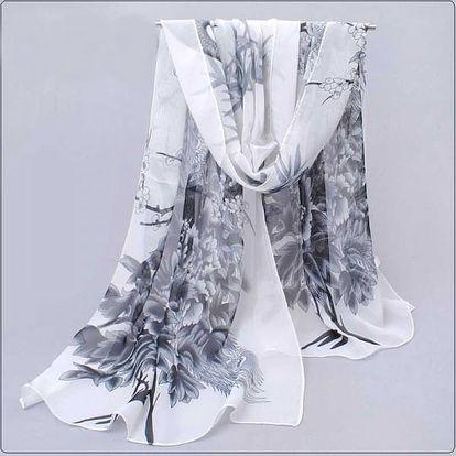 Dámský šátek s pavími motivy - dodání do 2 dnů