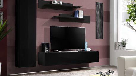 Obývací stěna FLY G1, černá matná/černý lesk