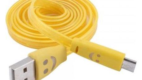 Svítící micro USB kabel se smajlíkem