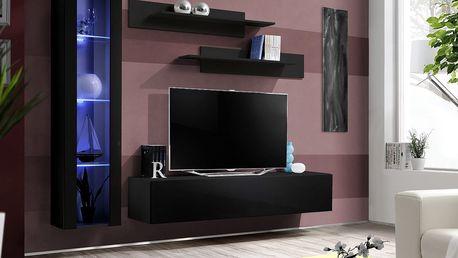Obývací stěna FLY G2, černá matná/černý lesk