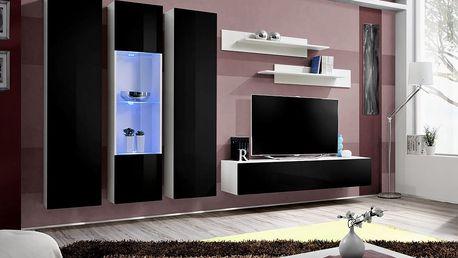 Obývací stěna FLY C5, bílá matná/černý lesk