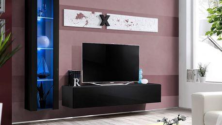 Obývací stěna AIR G2, černá matná/černý lesk