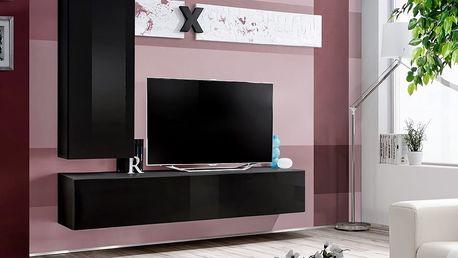 Obývací stěna AIR H1, černá matná/černý lesk