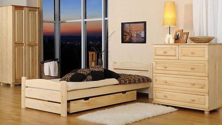 Dřevěná postel Nadia 90x200 + rošt ZDARMA borovice